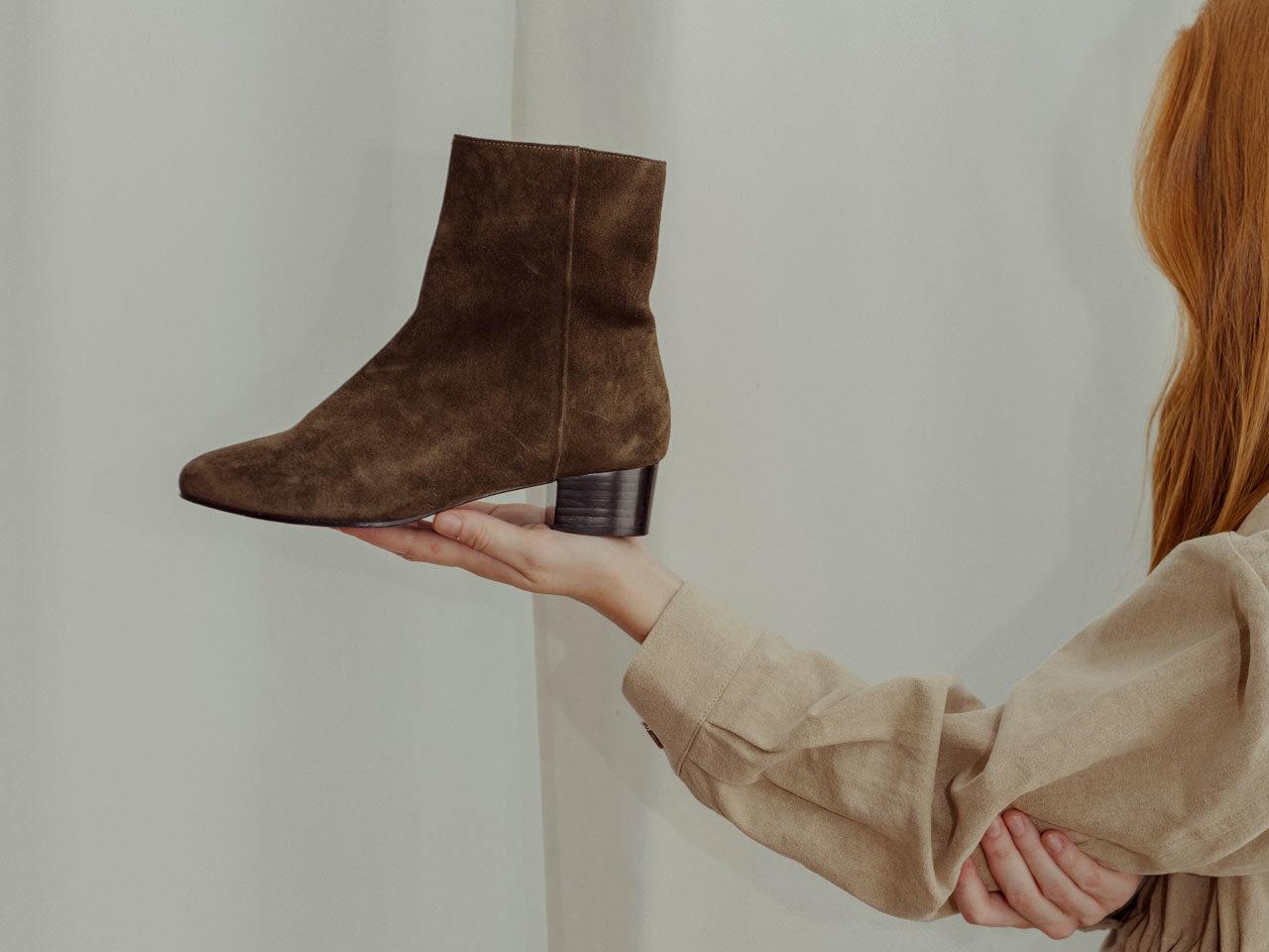Boots en veau velour kaki