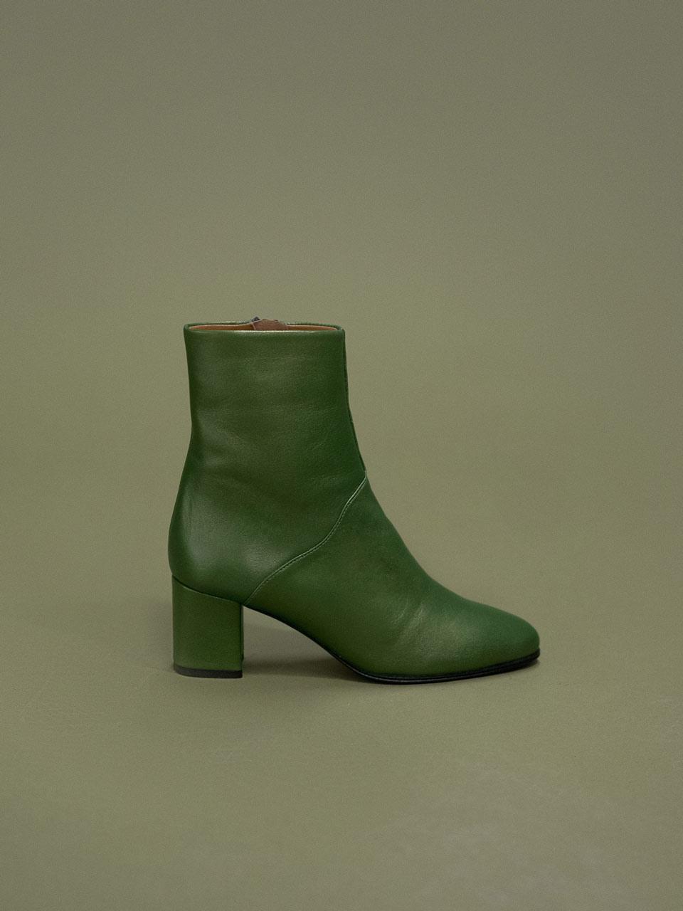 Boots en agneau nappa vert irisé