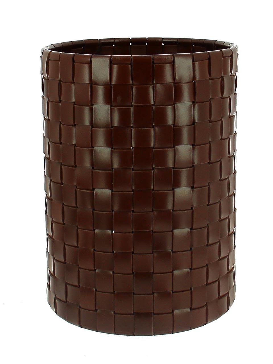 collection Seiton propose corbeille à papier et paniers de rangement en cuir recyclé tressé