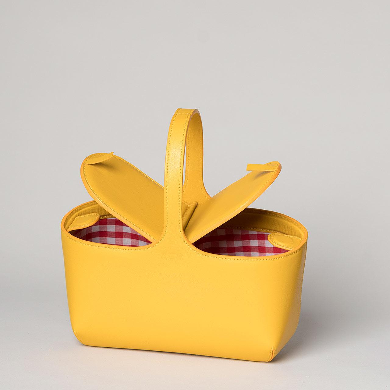 sac pique-nique Estebanot cuir nappa jaune
