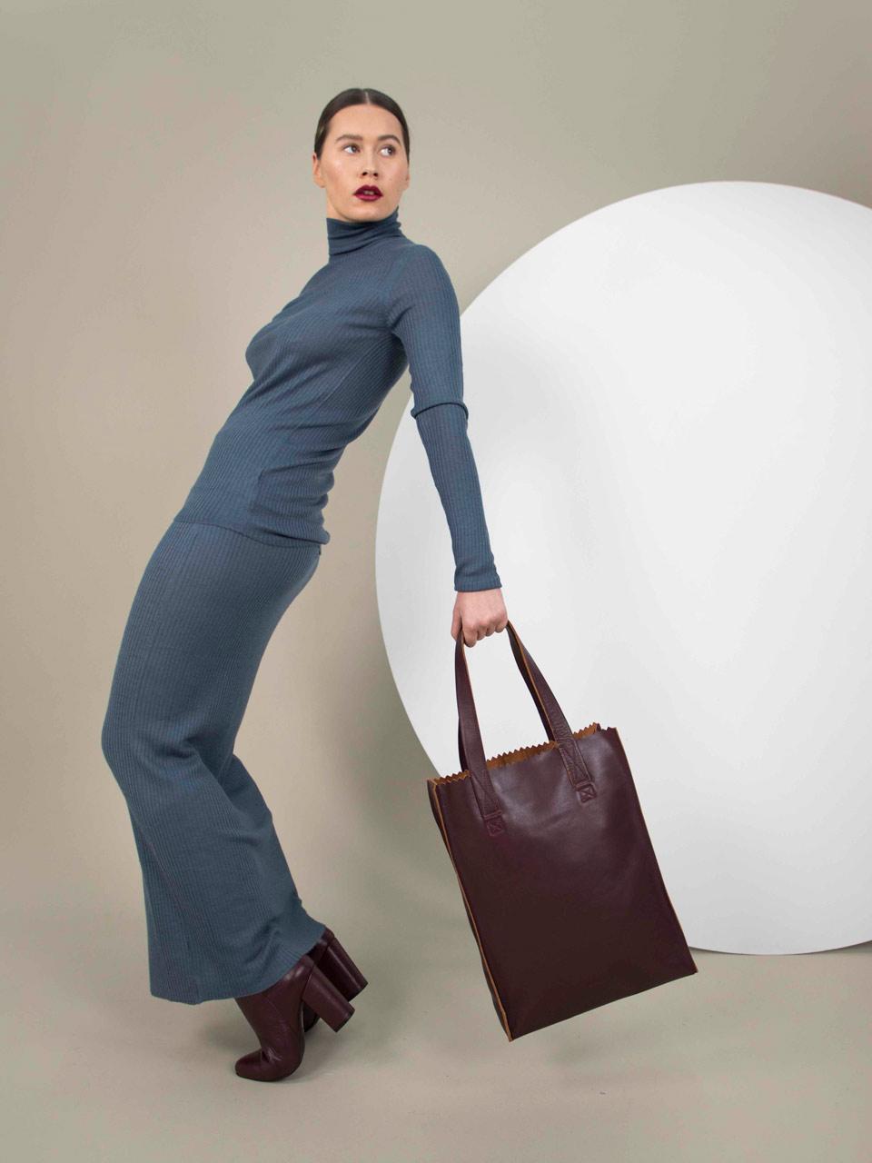 MYoMY My PAPERBAG sac cuir Aubergine