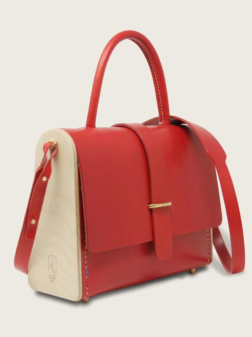 sac Ninetta rouge cuir bois Damien Béal