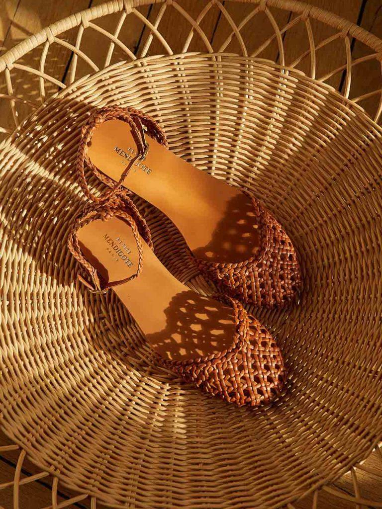 Petite Mendigote sandales cuir tressé cannage