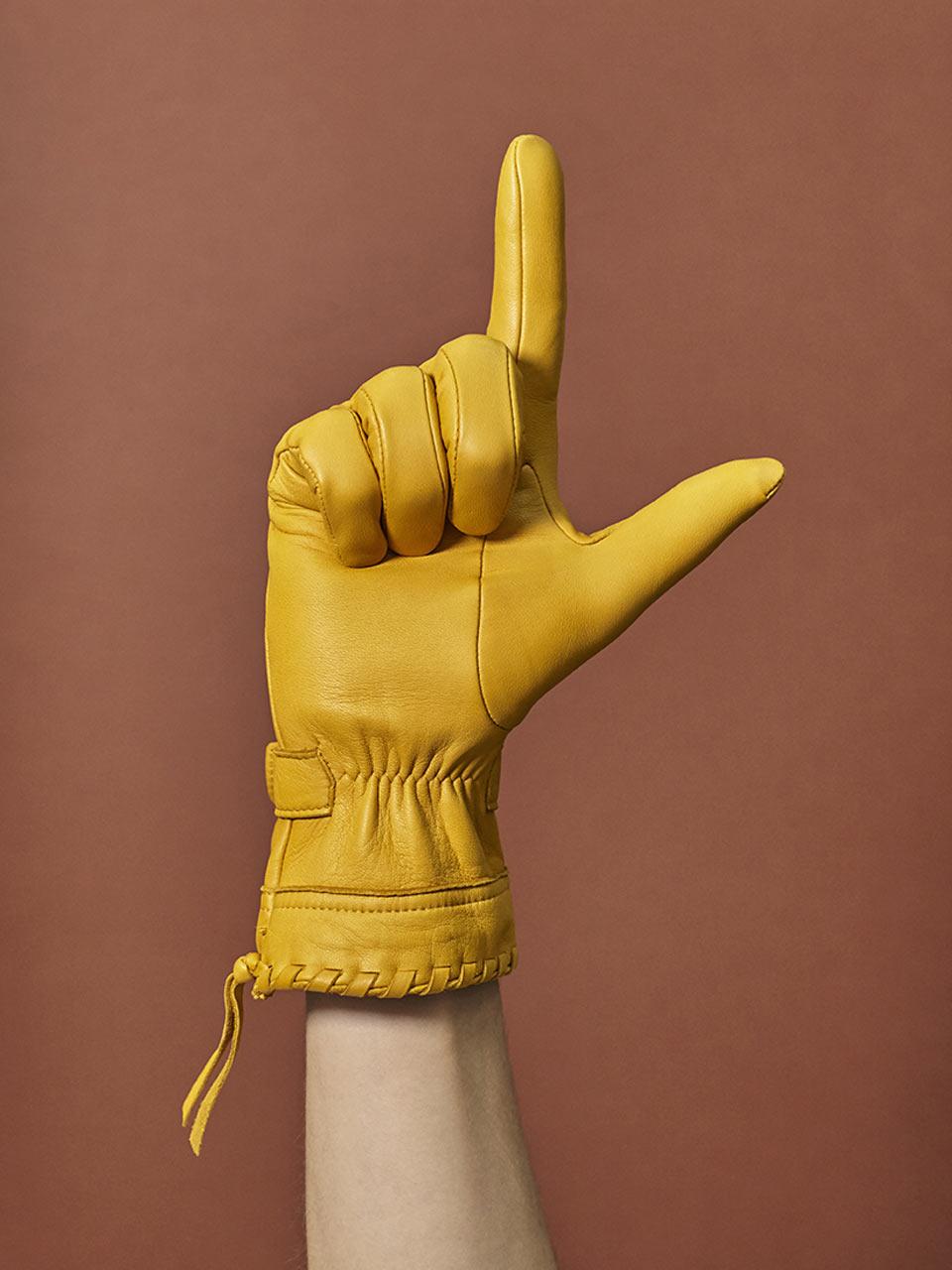 agnelle gant cuir fronce