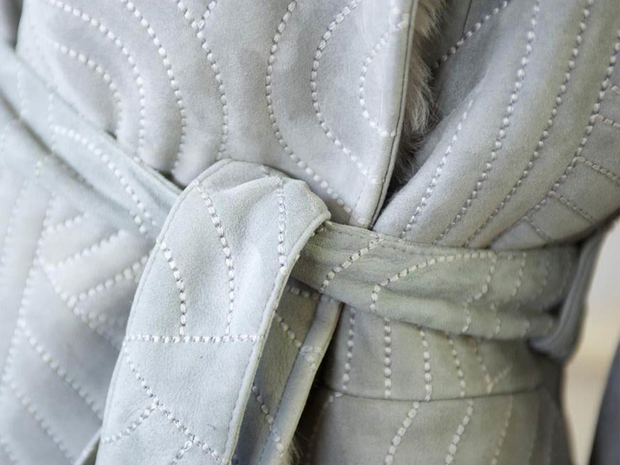 manteau ceinture velours morelli
