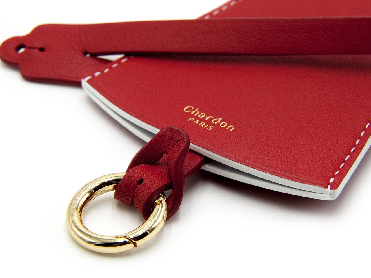 Chardon Paris Porte clés cuir rouge