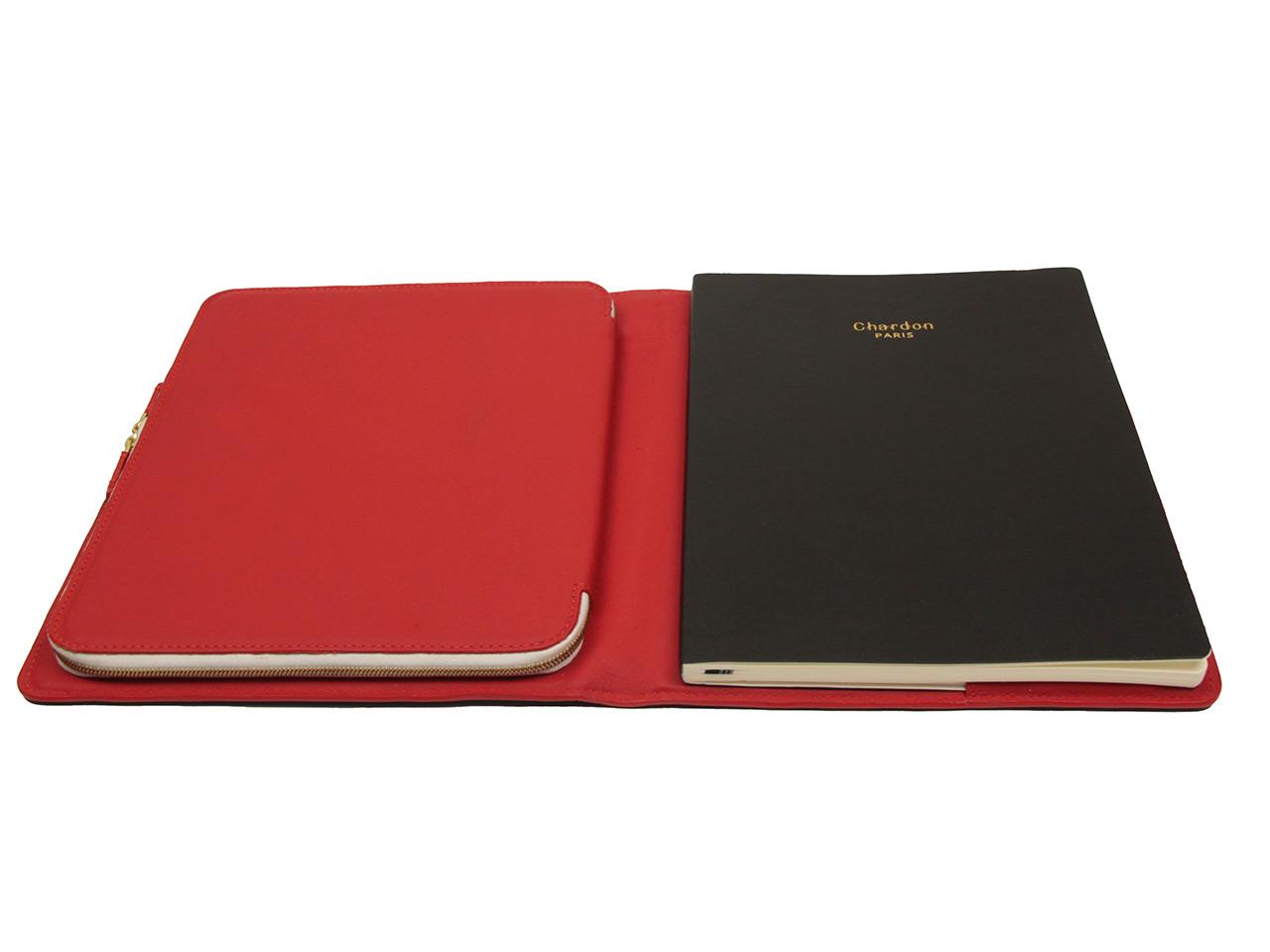 Chardon Paris cahier cuir Marine Rouge