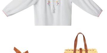 Collaboration Christophe Sauvat x Mellow Yellow : Tunique en coton brodée main (90€), sabot  en bois et cuir tanné végétal (130€), sac en jonc tissé (150€), le tout fabriqué de façon artisanale en Portugal.