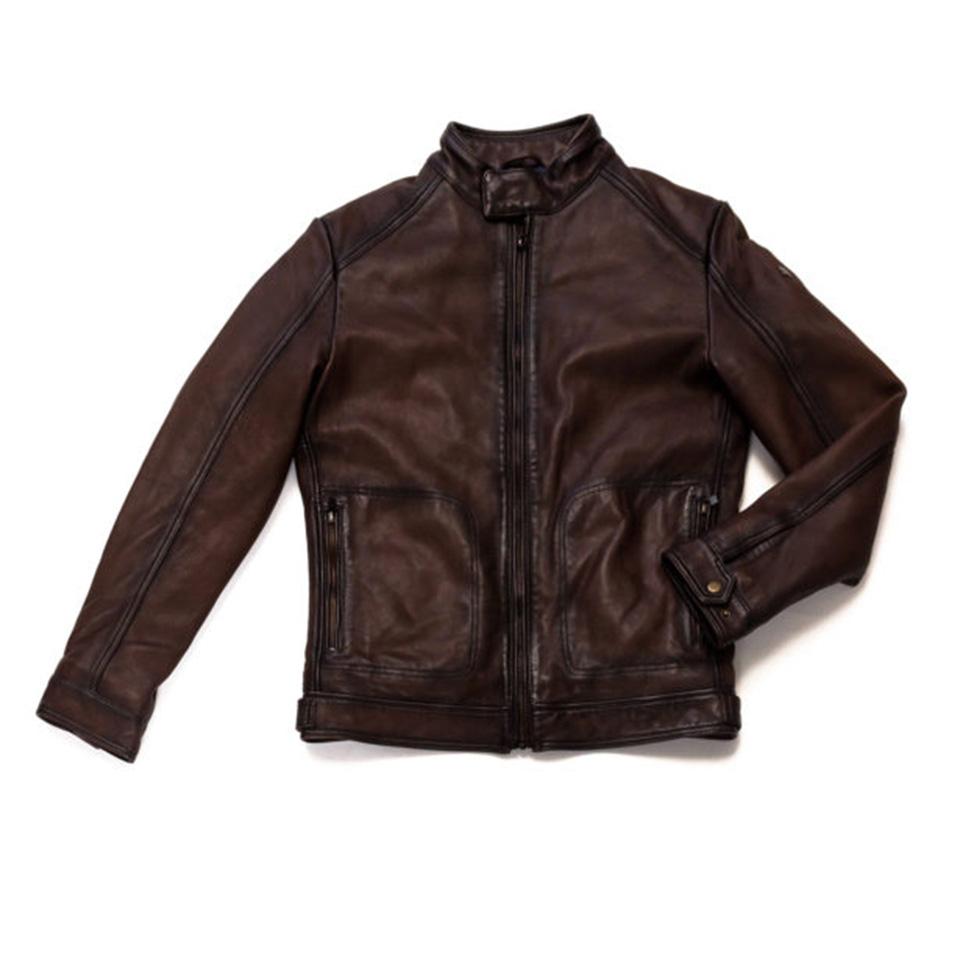 MCS blouson biker cuir vieilli