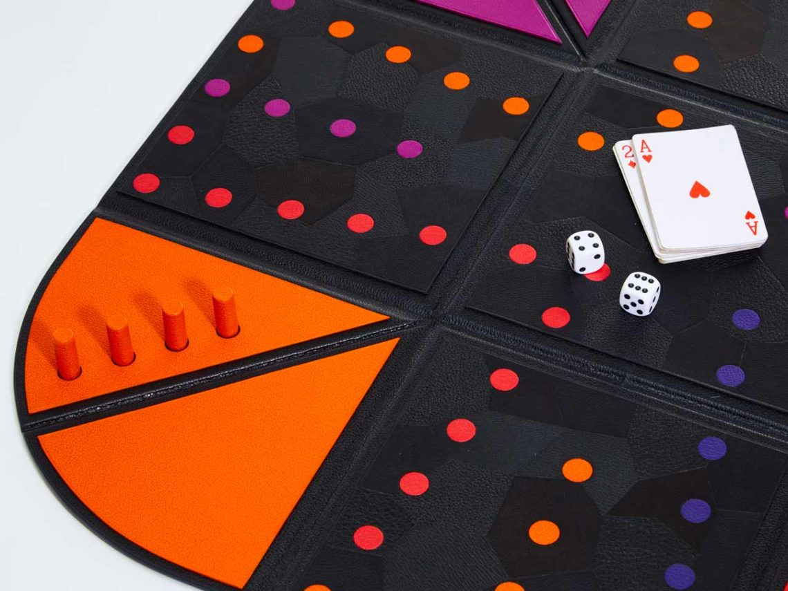 backgammon marqueterie cuir Audrey Ludwig